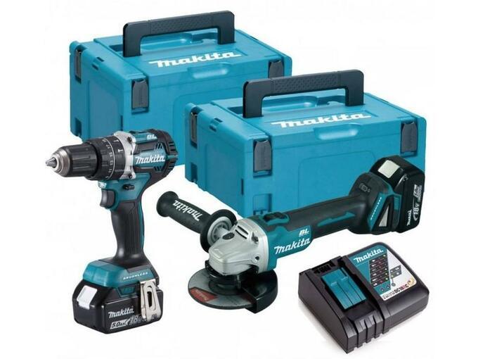 MAKITA akumulatorski set orodij - DGA504 + DHP484 + Makpac T2,T3 DLX2179TJ1