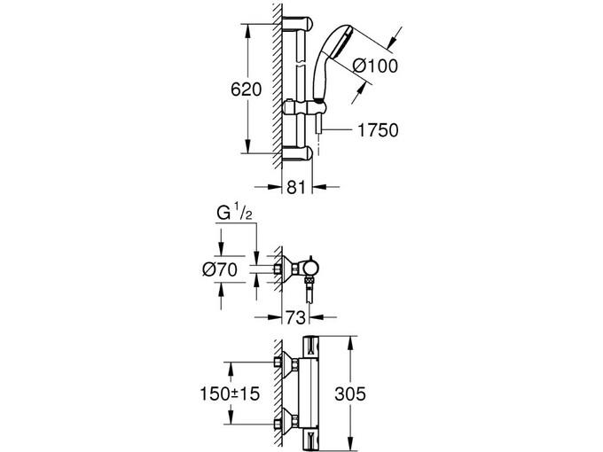 GROHE termostatski nadometni komplet Grohtherm 800 34565001
