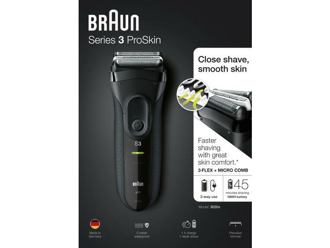 BRAUN moški brivnik Series 3-3020 črn 4210201112358