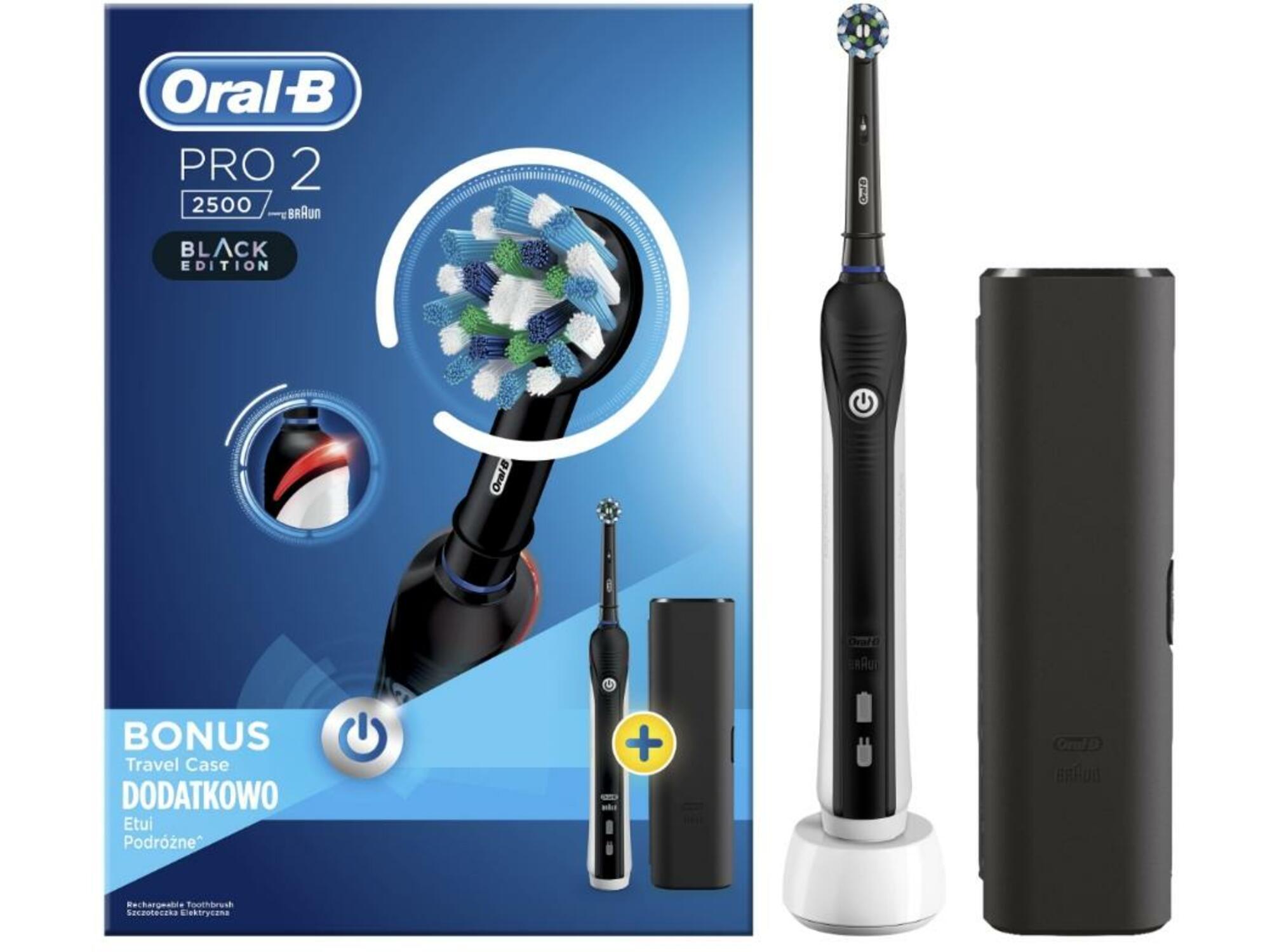 ORAL B električna zobna ščetka + potovalni etui Pro 2 2500 Black Edition 4210201219163