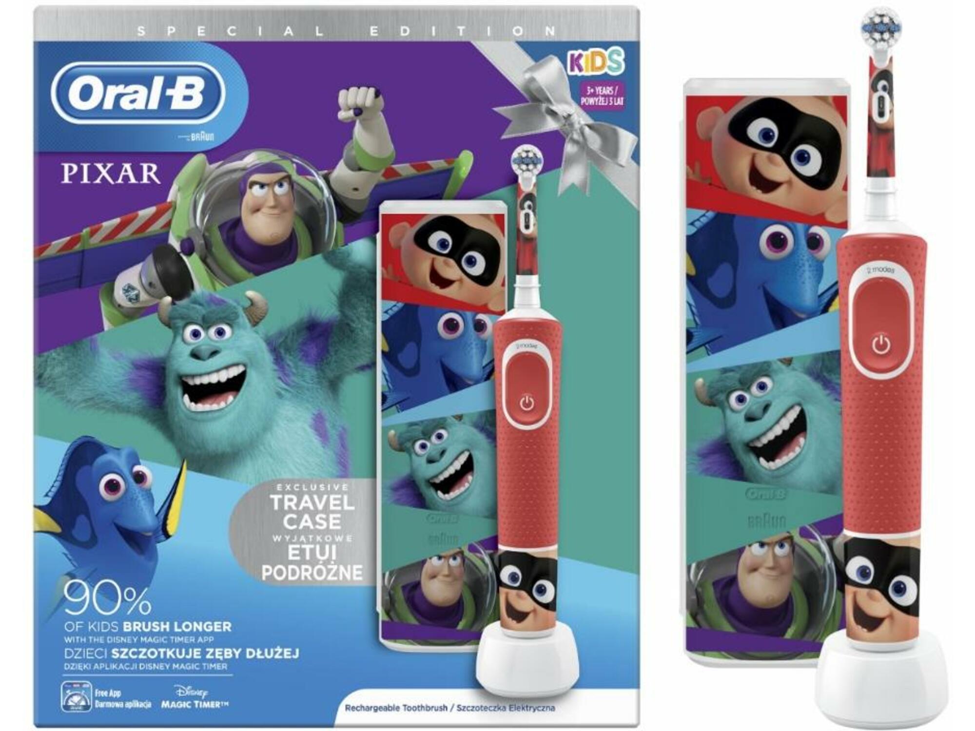 ORAL B otroška električna zobna ščetka + potovalni etui VITALITY KIDS Pixar D100 4210201314615