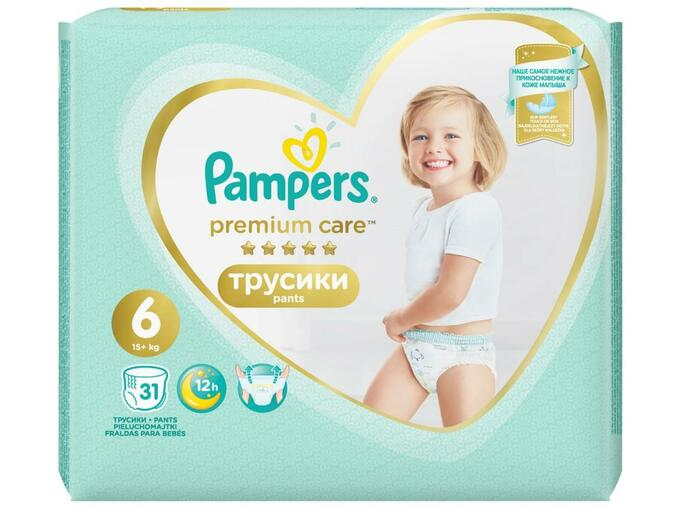 PAMPERS hlačne pleničke Premium Care Pants Velikost 6 (13 - 18kg), 31 kos